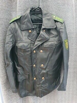 Vintage Leather German Police Jacket Size 50 • 17£