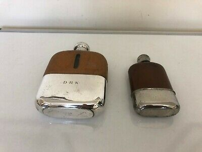 £89.99 • Buy Two Silver Plated, Glass And Leather Covered Hip Flasks One With Initials
