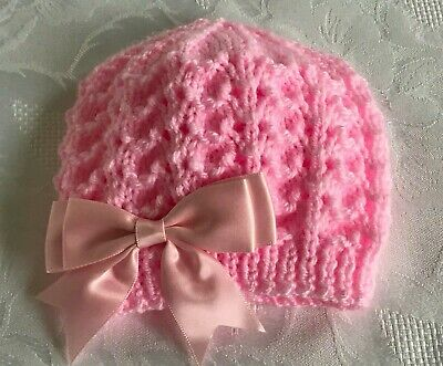 New Hand Knitted Baby Girl's Pink  Beanie Hat With Double Satin Bow 0 - 3 Months • 4.10£