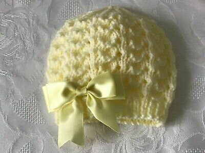 Newborn  Hand Knitted Baby Girl's Lemon  Beanie Hat With Double Satin Bow  • 3.90£