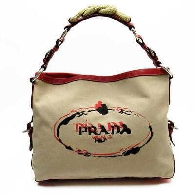 Auth PRADA Embroidery Logo Shoulder Bag Beige/Red Canvas/Leather - 52875a • 213.15£