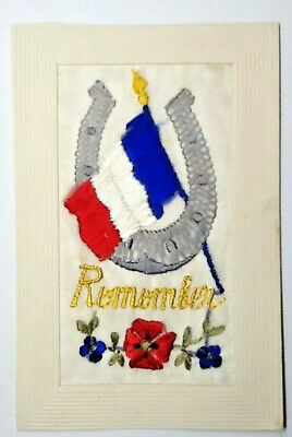 Ww1 Silk Embroidered Postcard - Remember  • 6.99£