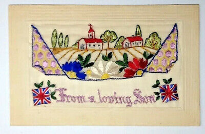 Ww1 Silk Embroidered Postcard - From A Loving Son • 8.99£