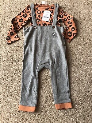Next Animal Print Dungarees Baby Outfit 9-12 Months • 11£