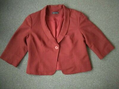 ALEX &Co SZ 18(MORE LIKE 14-16) TERRACOTTA 50%LINEN LINED BUSINESS PARTY JACKET • 1.99£