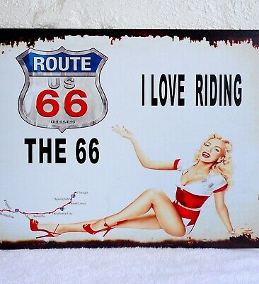 $ CDN1.26 • Buy Metal Advertising Sign Route 66 Antique Porcelain Signs Pin Up Sign Vintage Sign