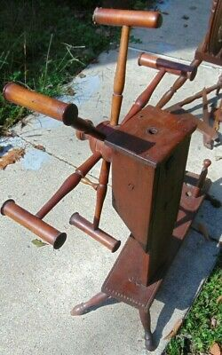 ANTIQUE WOOD YARN WINDER SKEIN WINDER,  Original Condition Unrestored • 39.01£