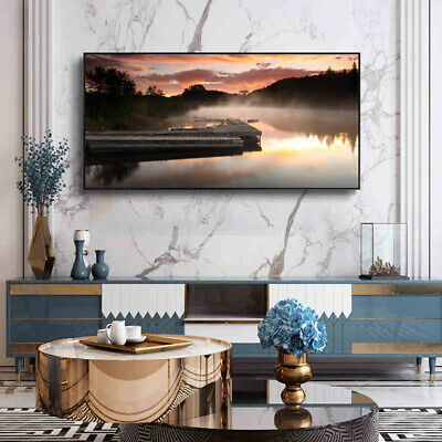 River Course Berth In Sunset Painting Canvas Wall Art Picture Print • 11.99£