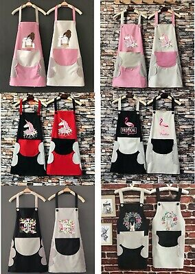 Women Lady Custom Apron With Pocket Chefs Butchers Kitchen Cooking Craft Baking • 12.99£