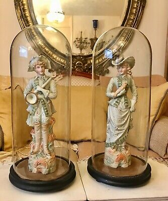 Pair Large Antique French Bisque Porcelain Figurines Figures In Glass Domes • 265£