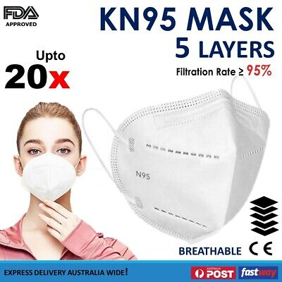 AU11.54 • Buy N95 KN95 Mask Respirator Anti Dust Reusable Disposable Face Masks Filter UP 20x
