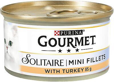 Gourmet Solitaire Wet Cat Food Premium Fillets With Turkey In Sauce 85 G Pack 12 • 12.75£