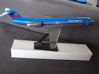 British Midland Fokker 100 Push Fit Model 1:100 Scale -  New &  Boxed • 15.95£