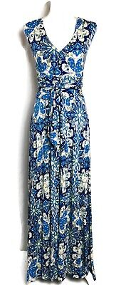 $ CDN52.62 • Buy Anthropologie Maxi Dress Blue Floral Capuchina Belted Knit Vanessa Virginia L