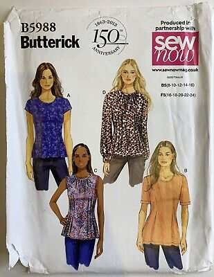 Butterick 5988 Top Shirt Blouse Loose Fit Shell PLUS Ladies New Uncut Pattern • 8£