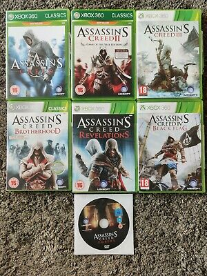 Xbox 360 Assassins Creed Bundle: 1, 2, 3, Brotherhood, Revelations, Black Flag • 12£