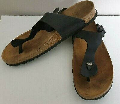 SCHOLL MENS SIZE 10 SANDAL TOE POST THONG ECO LEATHER UPPER BUCKLE BLACK Evie • 11.99£