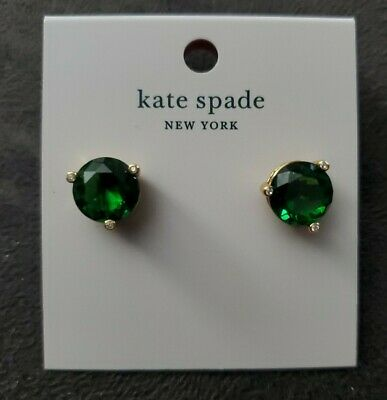 $ CDN25.51 • Buy Kate Spade Gold Emerald Green RISE AND SHINE Cubic Zirconia Stud Earrings $39
