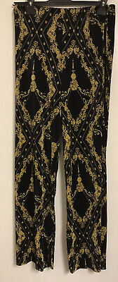 Womens Brand New River Island Black And Gold Ribbed Trousers Size 12 RRP £30 • 12£