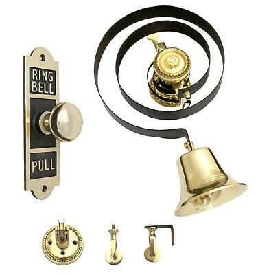 Victorian Butlers Bell Kit C/w Rectangular Brass Pull Rope Brass Bell & Pulleys • 74.94£