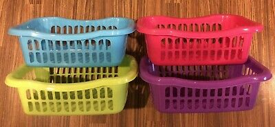 4 X Small Size  Storage Baskets Plastic 4 Colours 24 X 16.5 X 8 Cm Or 1 Of Each • 5.99£