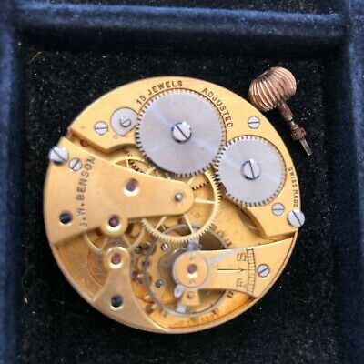 J. W. Benson Pocket Watch Movement 43MM Cyma 939 - 15 Jewels Complete & Running • 58.93£