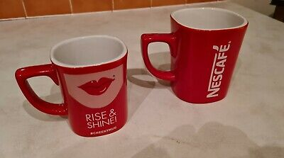 Pair Of Red Nescafe Mug Square Shape Advertising Coffee Cups Large And Small • 10£