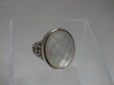 $ CDN41.14 • Buy WK Sterling Silver QVC MOP W/ Faceted Dome Top Ladies Sz 7.25 Ring