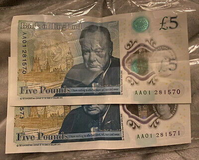2 X Aa01 New Five Pound Notes Extremely Low Serial Number Polymer Note  • 20£