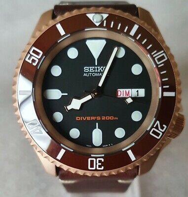 $ CDN712.07 • Buy SEIKO SKX007 Mod  The Rose Gold  NH36A Leather Strap New Condition