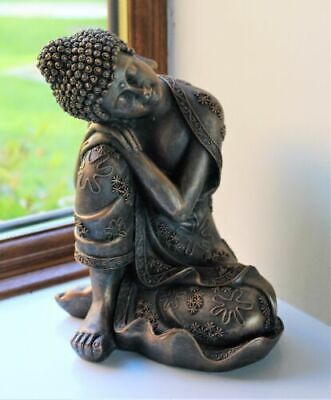 Sitting Buddha Bronze Effect Home Decor Indoor Statue Ornament Thai BOXED • 16£