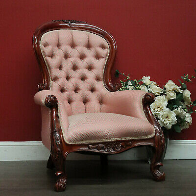 AU495 • Buy Vintage Grandfather Chair, Button Back Fabric And Mahogany Grandfather Chair