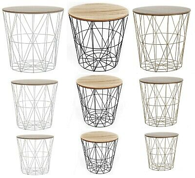 £17.95 • Buy Round Metal Wire Wood Top Coffee Side Table Storage Basket White Black Golden