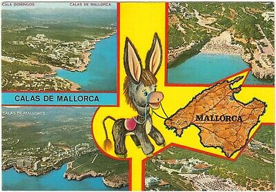 Postcard Calas De Mallorca Multiview. Island Map, Cala Domingos • 1.39£