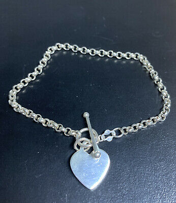 Vintage 925 Silver Heart T Bar Belcher Chain Bracelet / 7 Inches/8 Grams • 14.99£