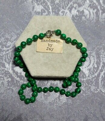 8mm Green Malachite  Crystal Healing Beaded Necklace  • 11.99£