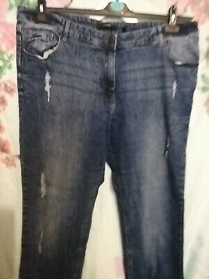 Simply Be Straight Leg Jeans Size 20 Blue Distressed Ripped Stretch  • 6.99£