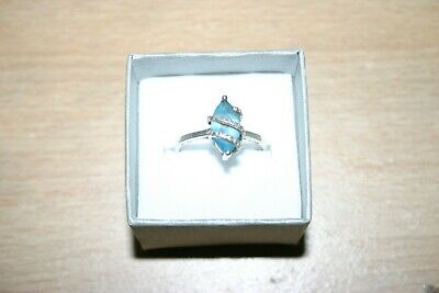 Swiss Blue Topaz Solitaire Ring In Sterling Silver Size Q. • 5£