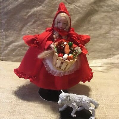 "$ CDN151.55 • Buy 5"" RED RIDING HOOD Dolls Bears Dollhouse Miniatures Artist Offerings All Bisque"