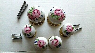 2 Large + 4 Small Floral White Porcelain/Ceramic Vintage Round Draw/door Knobs • 25£