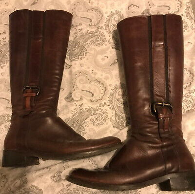 CLARKS Womens Burgundy Brown Leather Long Knee High Boots Winter Shoe Size 6 UK • 10£
