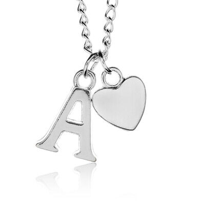 £2 • Buy Personalised Silver Plated Heart Letter Alphabet A-Z  Adjustable Necklace 18-30