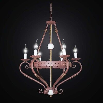 Chandelier Rustic Wrought Iron Forged Candle 6 Lights Bga 2544/6 • 377.78£