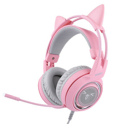 AU63.95 • Buy Gaming Headset With Mic Girls Women Cat Ear Headphone For SOMIC G951S Pink AU