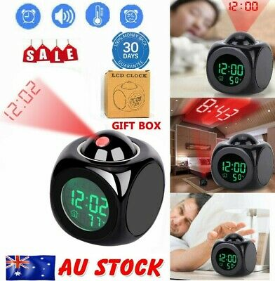 AU12.99 • Buy LCD Digital Voice LED Alarm Clock Talking Temperature Time Projector Night Light