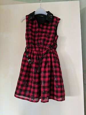 George Red Checked Star Dress Age 5-6 • 0.99£