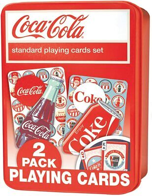 £14.99 • Buy Coca Cola Twin Set In Tin Box Of 52 Playing Cards + Jokers (mpc)