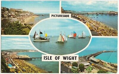 Postcard Picturesque Isle Of Wight Multiview. Ryde, Sandown, Ventnor, Shanklin • 1.89£