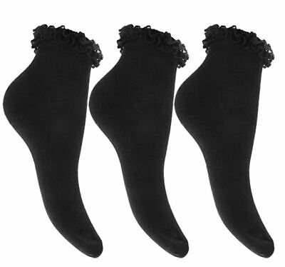 New Girls 1 Pair Black Lace Top Frilly Ankle School Trainer Socks Child 12-3 • 0.99£