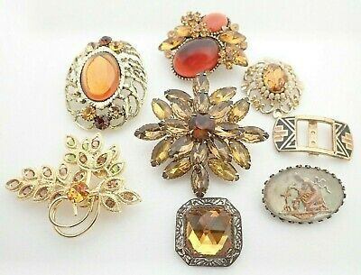 $ CDN79.46 • Buy Vintage Lot Of Rhinestone Jewelry Necklace Pendant Buckle Brooches Pins